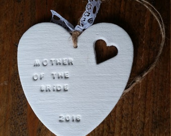 Mother Of The Bride Gift ~ Mother Of The Groom Gift ~ Clay Heart ~ Hanging Clay Heart ~ Bridesmaid Gift ~ Wedding Gift ~ Clay Ornament