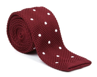 Maroon Polka Dot Knitted Tie | Sock tie | Maroon | Red | Gifts for him | Ideas | Groom | Wedding