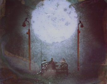 I Will Not Be Sad In This World | 30cm x 30cm Fine Art Photographic Print, Dream, Surreal, Nigh-time, Moon, Painterly