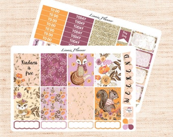 Woodland Little Weekly Kit (matte planner sticker, fits perfect in Erin Condren Life Planner Vertical)