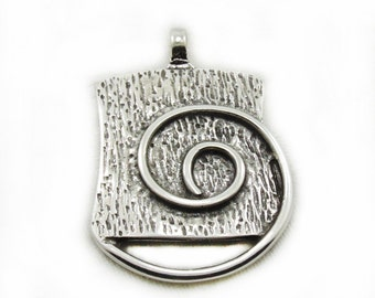 Retangle Spiral Pendant, Antiqued Spiral Pendant, Rentangle Pendant With Spiral Design, Jewelry Making, Craft Supplies