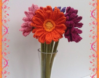 Hand knitted Gerbera Daisy, Gerber Daisy, Floral Display, Knitted Flower, Orange