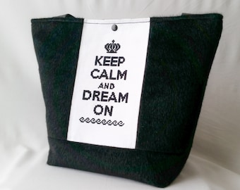 """Keep calm"" handbag black"
