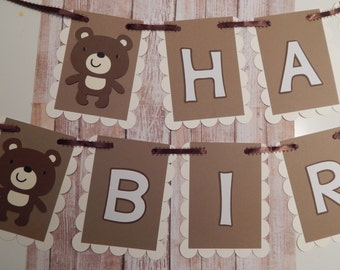 Teddy Bear Happy Birthday / Name Banner