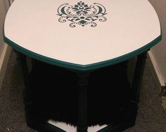 SALE!! Vintage Wood Hexagon Table Doubles as Cozy Pet Lounge/Bed, Hand-Painted