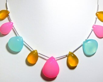 Multi Chalcedony Smooth Heart Beads 1.String 9.Pcs - Size 11x20.6 to 19x24.5 mm Approx - Code - 0238