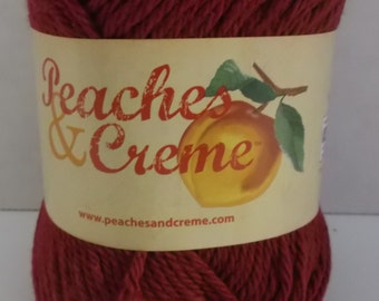 Peaches & Creme Cotton Yarn ~ Colour Burgundy ~ #4 Medium Worsted ~