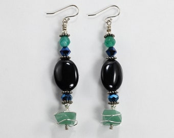 Gemstone and Wire Wrap Earrings, Black Onyx, Aventurine, Crystal and Agate Earrings