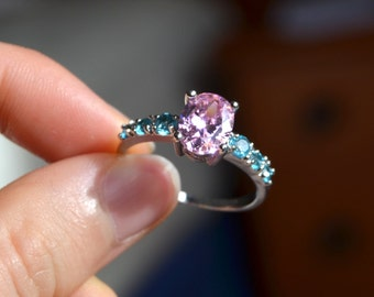 Sterling Silver Pink and Blue Crystal Ring
