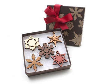 Mini Wood Snowflake Ornament Gift Box set of 5 - Ready to Gift, Ready to Ship for Christmas