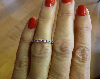 DIAMOND and RUBY ~ 14K White Gold ~ Half Eternity Ring ~ Genuine Diamond, Genuine Ruby ~ Wedding ~ Engagement ~ Promise ~ July Birthstone