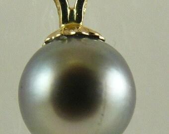 Tahitian Dark Gray 8.5mm Pearl Pendant 14k Yellow Gold
