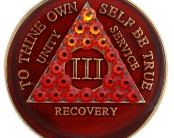 Red Transition Crystallized Sobriety Medallion