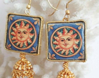 Earrings with silver tiles Caltagirone, Bell and pendant