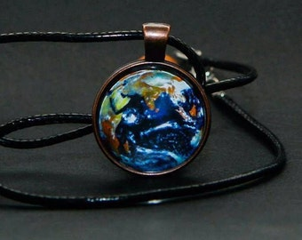 Planet Earth Pendant, Earth Jewelry, Mother Earth Necklace, Glass dome pendant