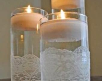Set of 3 cylinder vases with lace and rhinestones