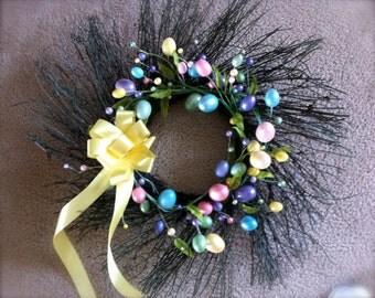 Easter Wreath, Pastel Egg Wreath, Grapevine Wreath, Spring Wreath