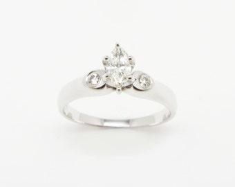 14K White Gold Marquis Diamond Ring