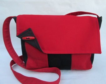 Handmade jeans bag red black Upcycling