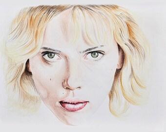 Lucy, Scarlett Johansson, Handmade Drawing