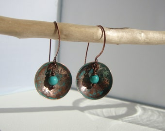 ethnic earrings, Bohemians, rustic, copper turquoise