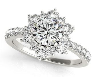 Diamond Engagement Ring, Unique Moissanite Engagement Ring, Flower Diamond Ring, Flower Engagement Ring, Unique Engagement Ring