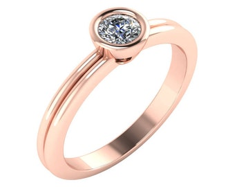 Rose Gold Diamond Ring, Bezel Set Diamond Ring, Diamond Stacking Ring, Dainty Diamond Engagement Ring, Solitaire Engagement Ring.
