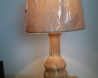 Woodturned table lamp made from spalted beach