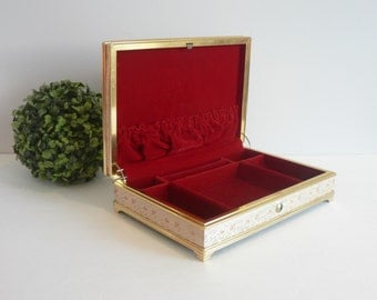 Vintage 50's  Peach Cream Brocade Jewelry Box With Ruby Red Velvet Interior -Gifts for Her - Vintage Glam Jewellery Box -50's Jewelry Box