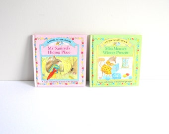 Pair of Children's Look Again Books - Kid's Vintage Picture Books