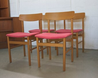 Retro Mid Century Danish Style 4 Teak Pink Dining Chairs