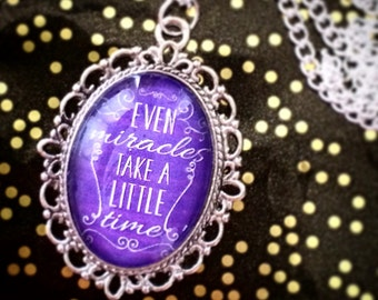 Cinderella 'Even Miracles Take a Little Time' Fairy Godmother quote Disney cameo necklace