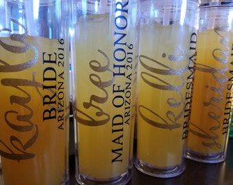 Bride - Bridesmaids - Sippy Cups - Tumblers - Customized - Free Shipping