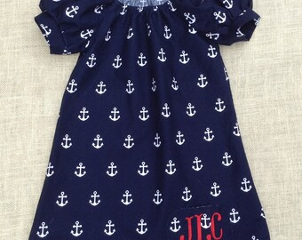 Nautical Dress Girl Toddler, Anchor Dress for Girl, Monogrammed Dress for Girl Toddler