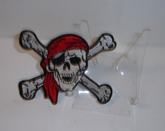 One Small Punk Goth Biker Skull w Crossbones Jolly Roger Pirate Iron-On Patch Sew-On Applique- Purchase for DIY