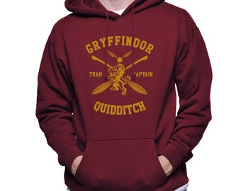 CAPTAIN - Gryffin Quidditch team Captain Yelow print printed on MAROON Hoodie