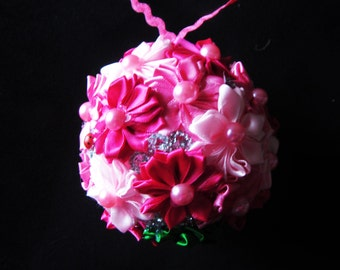Wedding decorations, Flowers Ball from ribbon, Wedding  Flower Ball, home decor, caffe decor, wedding flowers decor