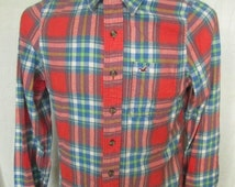 HOLLISTER Mens Multi-Color Plaided Long Sleeved Casual Shirt Size S Small Used Condition
