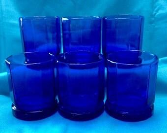 Hexagonal Cobalt Blue Tumblers - Set of Six