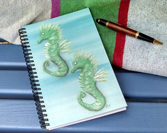 Handcrafted Spiral Writing Journal; FREE SHIPPING; Blank Notebook; Wire Bound; Diary; Original Seahorse Acrylic Painting