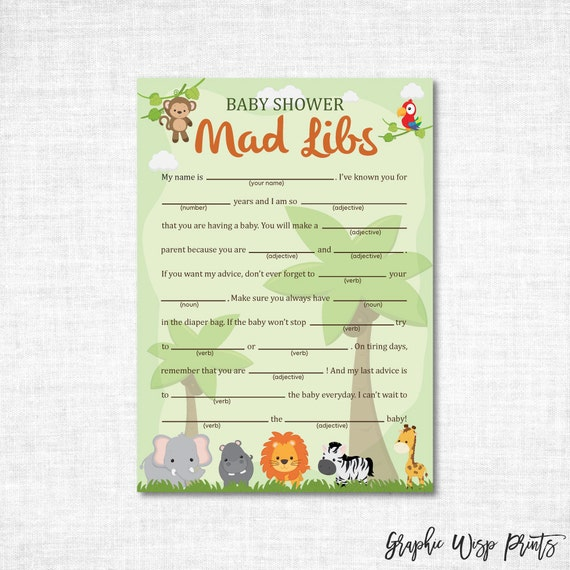 mad libs baby shower printable game safari by