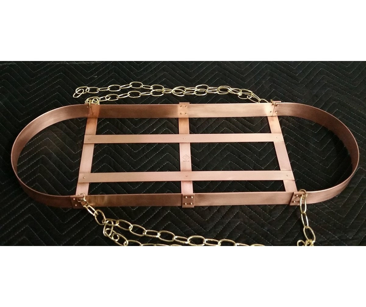 30x10 Handmade Hanging Copper Pot Rack Oval With Chain 8