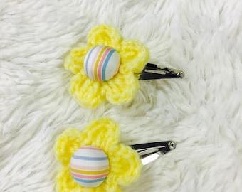 Handmade Crochet Flower hairpin