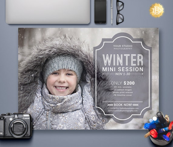 Holiday Mini Session Flyer Template, Winter/ Christmas Marketing Card, Mini Session Template for Photographers - INSTANT DOWNLOAD - MS014