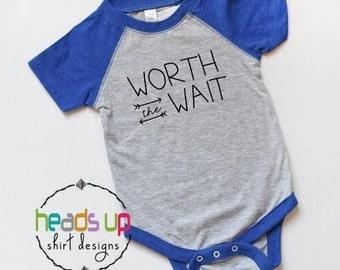Baby Boy Bodysuit Worth The Wait - Adoption Gift Baby Boy - Baby Shower Gift New Baby - Trendy Worth The Wait Tee - Coming Home Hospital