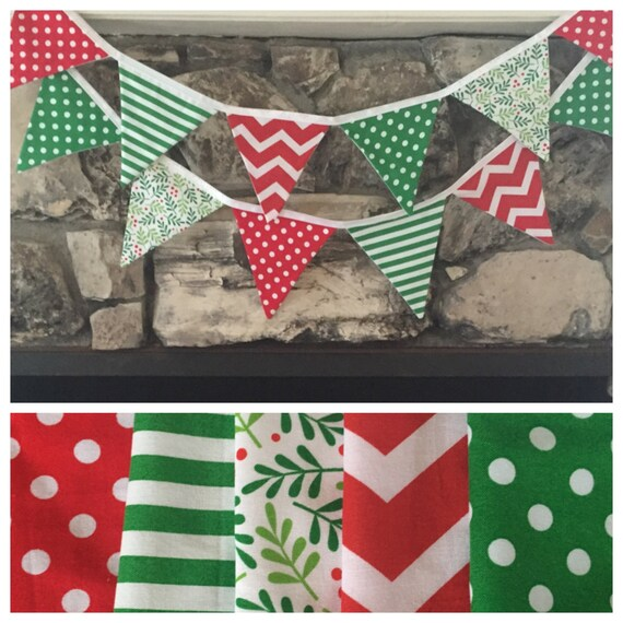 Items Similar To Christmas Fabric Bunting Banner On Etsy