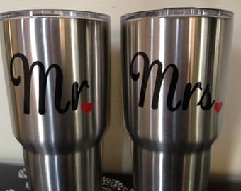 Mr Mrs - Yeti Decal - Mr and Mrs Decal - His and Hers - His and Hers Yeti Decal - Wedding - Wedding Decal - Wedding Gift