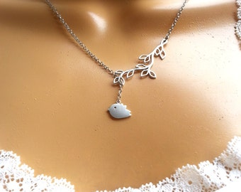 Matte Silver Bird Branch Lariat Necklace Bridesmaid Necklace Gift For Her Women's Gift Valentine's Day Gift