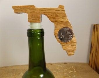 Oak Wood Wine Bottle Stoppers, Florida, State Shape