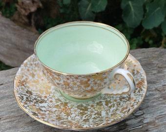 Royal Stafford Mint Green & Gold Chintz Tea Cup 1950's